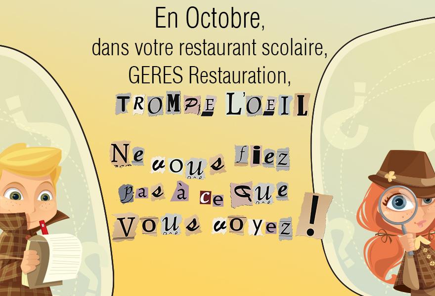 Octobre, menu scolaire GERES Restauration - restauration collectivités