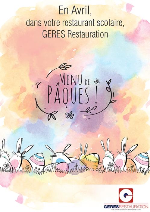 Menu Pâques 2018 GERES Restauration Scolaire