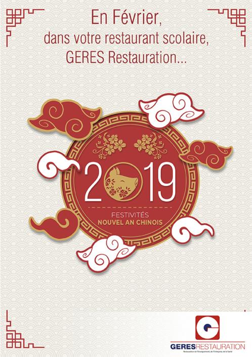 Menu de Février 2019 pour les restaurants scolaires de GERES Restauration – nouvel an chinois