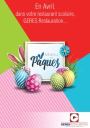 Menu d'Avril 2019 pour les restaurants scolaires de GERES Restauration – menu de Pâques
