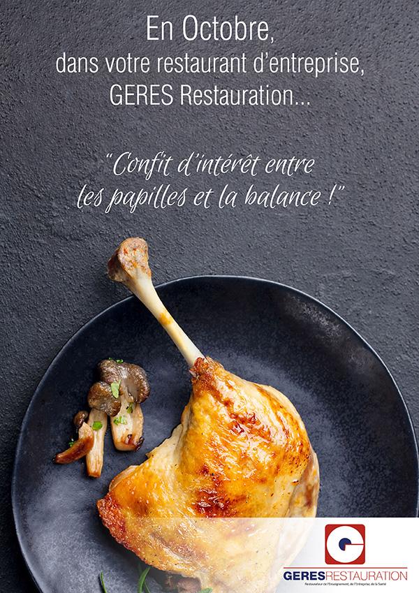 Menu Octobre 2019 pour les restaurants d'entreprise de GERES Restauration – Menu Sud-Ouest