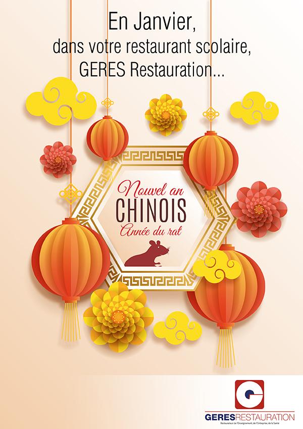 Menu Janvier 2020 pour les restaurants scolaires de GERES Restauration – Menu nouvel an chinois
