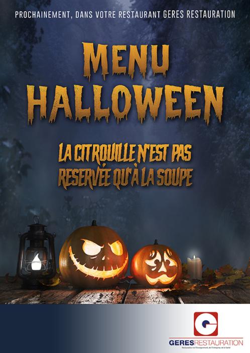 Menu Halloween 2020 pour les restaurants d'entreprises et scolaires de GERES Restauration